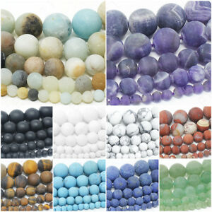Matte-Natural-Gemstone-Beads-Round-Frosted-4mm-6mm-8mm-10mm-12mm-15-5-034-Strand