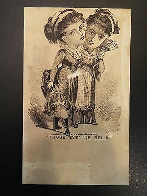 """""""those Evening Bells"""" Two Victorian Women Vintage Trade Card"""