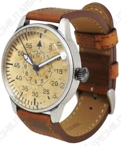 Luftwaffe-ME-109-Pilot-Watch-Vintage-German-Brown-Yellow-Leather-Air-Force-New