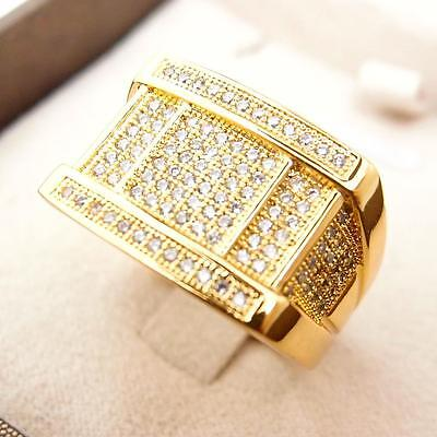 Men Jewelry Micropave 18K Yellow Gold Filled Glint Crystal Men's Ring R47 9#-12#