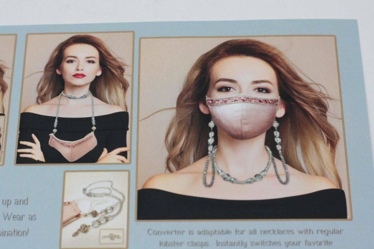Jacqueline Kent Purple Black Crystal Magnetic Mask Lanyard Necklace Combination