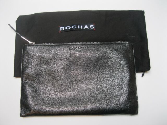 Rochas Paris Gunmetal Pebbled Leather Zip Top Clutch Handbag Euc