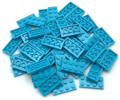 Lego 50 New Medium Azure Plates 2 x 4 Stud Pieces