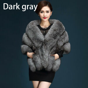 Women-Winter-Warm-Cloak-Faux-Fox-Fur-Jacket-Coat-Shawl-Stole-Wrap-Scarf-Cape