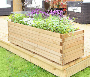 Captivating Image Is Loading Raised Trough Wooden Garden Planter Pine Flower Bed
