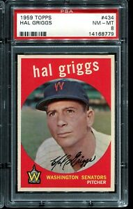 1959-Topps-Baseball-434-HAL-GRIGGS-Washington-Senators-PSA-8-NM-MT
