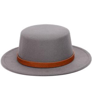 Details about Fashion Men Women Wool Blend Fedora Boater Hat Wide Brim Flat  Top Gambler Hat 0db16d422f1