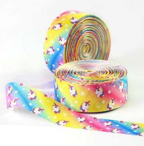 Rainbow Unicorn Satin Grosgrain Ribbon Floristry Cake Birthday Gift Wrap Craft