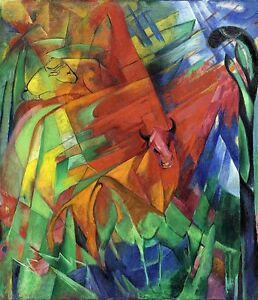 """Franz Marc Vintage Abstract Art CANVAS PRINT Animals in landscape poster 24""""X16"""""""