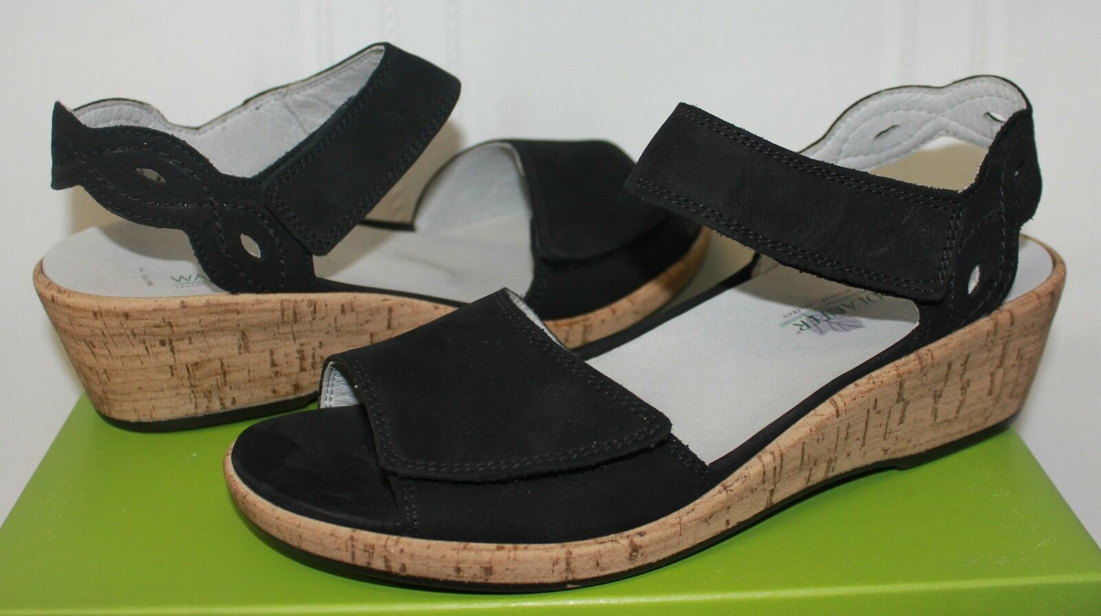 Waldlaufer Mira Helinda nero Nubuck Nubuck Nubuck Leather Wedge Sandals scarpe New 9356e9