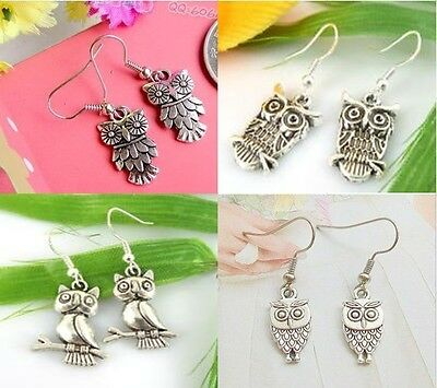 HOT Wholesale Lady 4Pair/lots Charm Fashion Jewelry Silver Owl Mix Stud Earrings