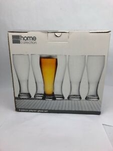 New-JC-Penney-Home-Collection-6-Piece-Pilsner-Beer-Glass-Set-Brand-New