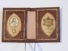 "Vintage 1.75"" pocket prayer shrine St Therese of Lisieux cloth relic & Agnus Dei"