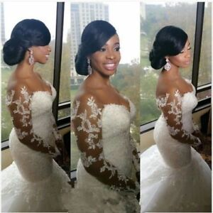Plus-Size-Mermaid-White-ivory-Lace-Applique-Wedding-Dress-Bridal-Gown-Custom