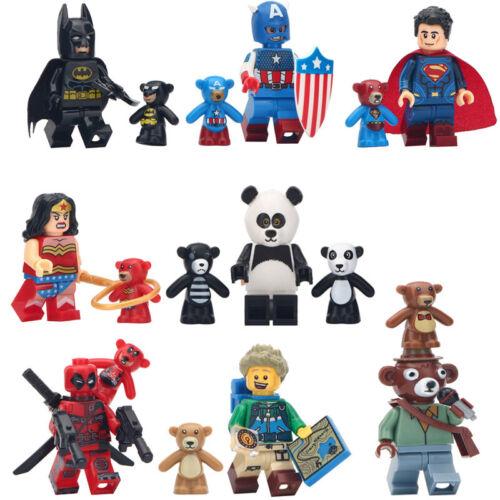 Teddy Bear /& Batman Deadpool Flash Panda-Marvel Boneco Personalizado Lego Minifigures
