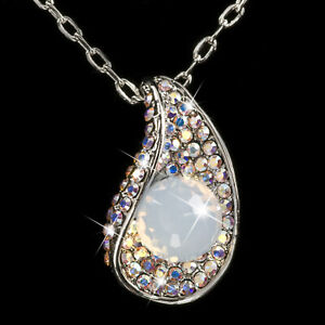 4d368a2772 Free postage. Image is loading 18k-white-gold-gf-made-with-SWAROVSKI-crystal -