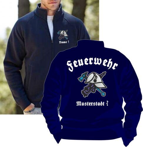 Name Shirt 3 Feuerwehrjacke Feuerwehr Sweatjacke Pullover Reißverschluß Helm