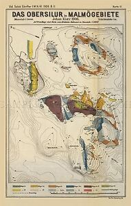 MAP-ANTIQUE-1906-KIAER-SILURIAN-GEOLOGY-MALMO-LARGE-REPLICA-POSTER-PRINT-PAM0425