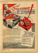 1946 PAPER AD Revell Plastics Donald Duck Toy Telephone Phone & Box