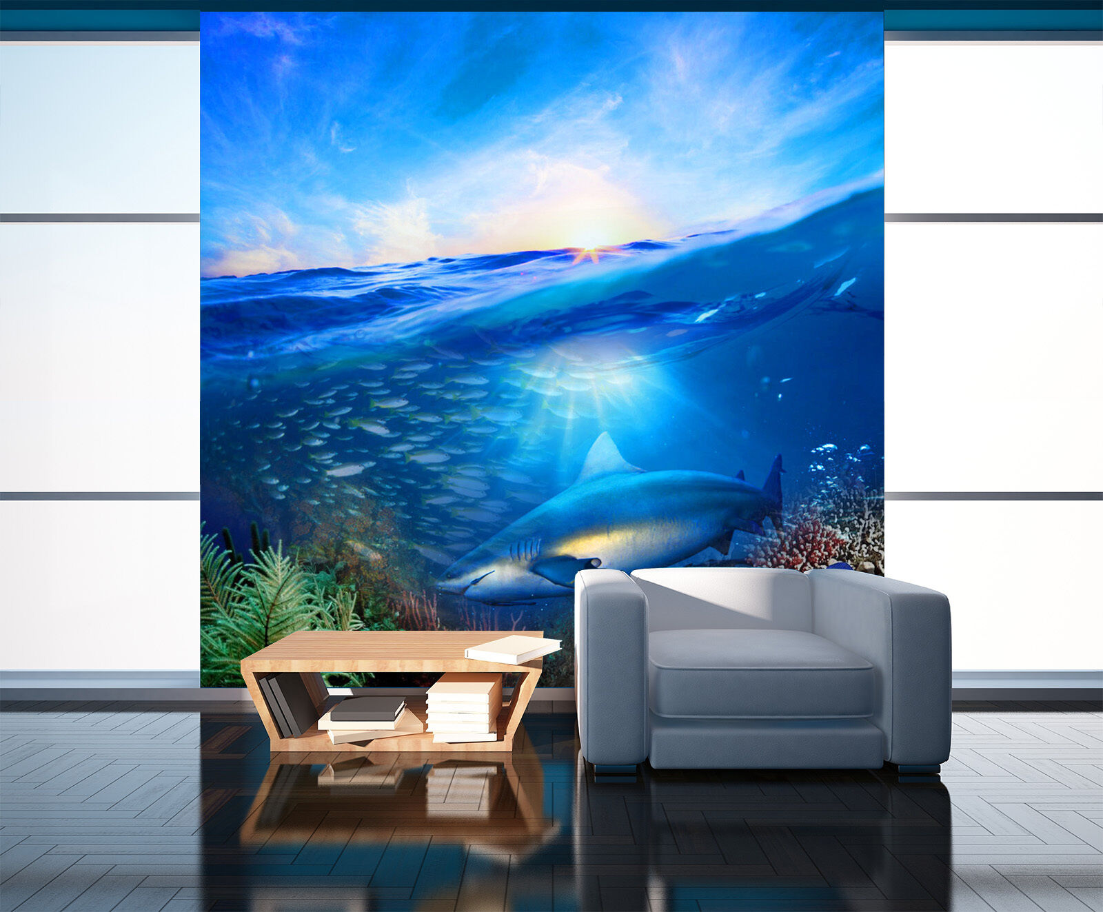 3D bluee ocean dolphin 22 Wall Paper wall Print Decal Wall Deco Indoor wall Mural
