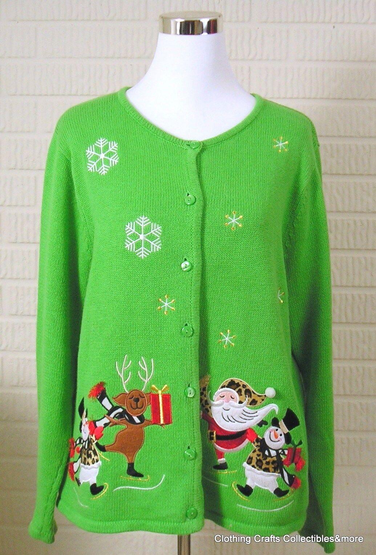 Ugly Christmas Sweater Lime Green Sz XL Snowman Santa Reindeer Animal Print