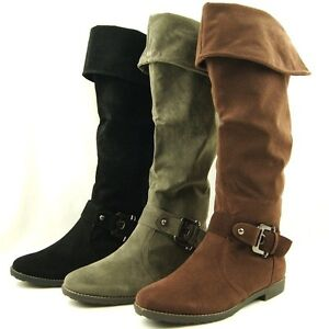 Women-039-s-Flat-Knee-High-Over-the-Knee-Cuffed-Riding-Boots-5US-10US