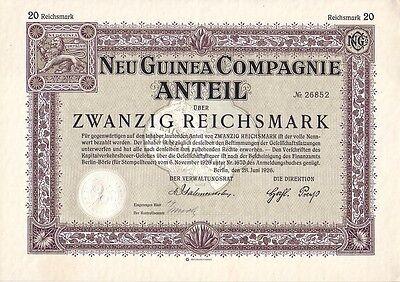 Initiative Neu Guinea Compagnie 1926 Berlin Eine VollstäNdige Palette Von Spezifikationen