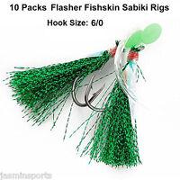10 Packs Flasher Sabiki Rigs Luminous Beads Fish Skin Bait Catching Sabiki Hooks