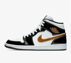 the latest 294fa 21002 Nike Air Jordan 1 Mid SE White Black Gold Patent Leather 852542 ...