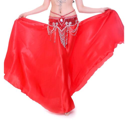 NEW 360 Full Circle Shining Satin Long Skirt Swing Belly Dance Costumes Skirts