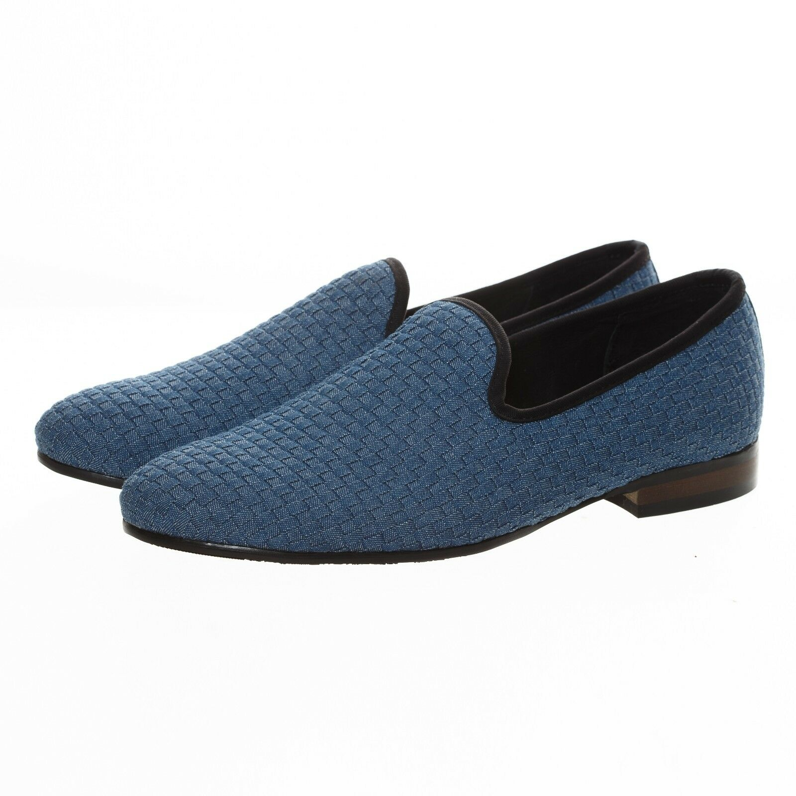 Handmade Mens bluee Woven Casual shoes Leather Loafers Slip on Slippers Flats New