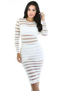 Abito-cono-aperto-nudo-trasparente-aderente-Midi-Striped-Bodycon-Club-Dress