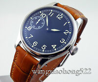 44mm parnis black dial green number hand winding 6497 mens watch 015