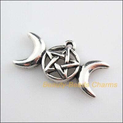 6Pcs Tibetan Silver Tone Star Moon Round Charms Pendants 15.5x30mm