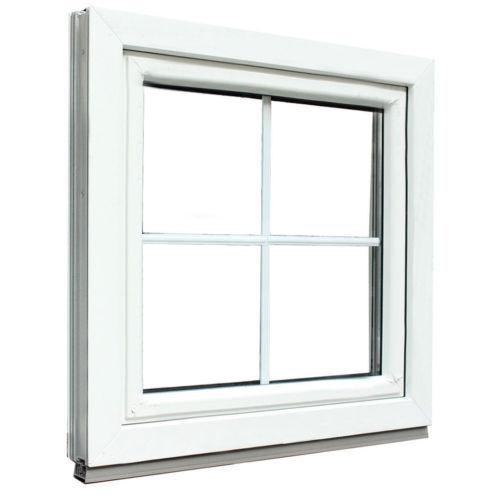 Kunststofffenster Weiß mit Sprossen 18 mm 4 Glas Feldern 2fach Verglasung
