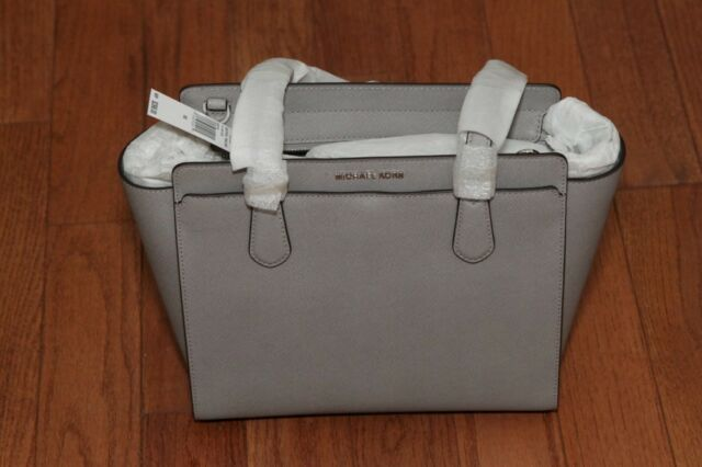 1074314fba38 NWT Michael Kors $298 Dee Dee Medium Leather Convertible Tote Handbag Pearl  Grey