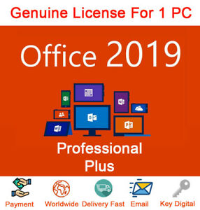 45f8a5e973f Details about Office 2019 Pro Plus 32 64 Bit Dowload License Genuine For 1PC