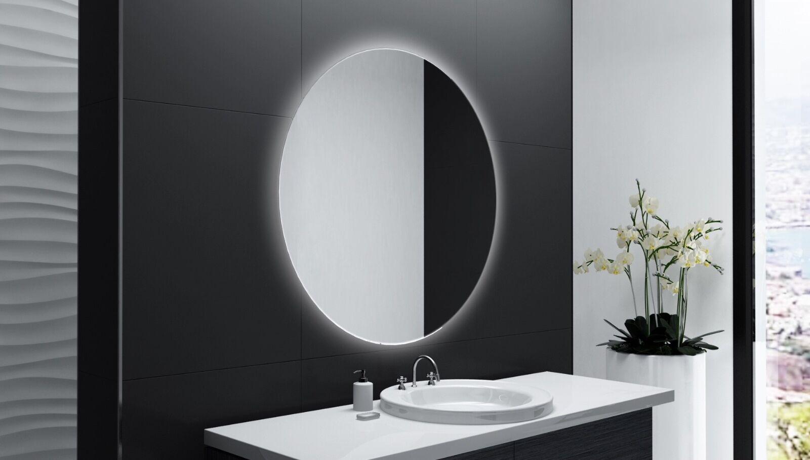 Badspiegel Rund m LED Beleuchtung Badezimmerspiegel Bad Spiegel Wandspiegel DR22