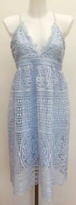 BNWT-Rrp-115-Bardot-Pale-Blue-Lace-Low-Back-Strappy-Midi-Dress-Fits-Size-12-14