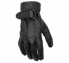 Black Brand Womens Leather Vintage Venom Motorcycle Gloves Black, Small