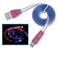 LED Light Up Micro USB Sync Charge Data Cable Samsung Galaxy S2 S3 S4 Tablet HTC