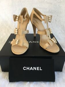 CHANEL Grosgrain Pearl Bow Other Open