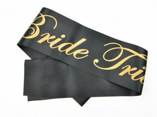 20 x Black and Gold Bride Tribe Ladies Hen Do Night Party Sashes Bulk Free P/&P