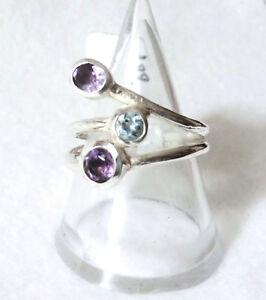 Amethyst-Blautopas-Ring-925-Sterling-Silber-Handarbeit-Unikat-Gr-56-17-8-mm-Neu