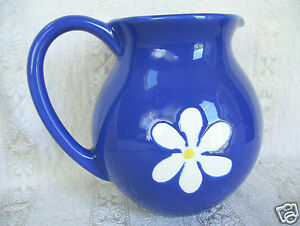 Hand-Painted-Blue-amp-White-Pitcher-Jug