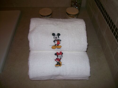 Personalized Embroidered Personalised Minnie  and Mickey Mouse Bath Towels