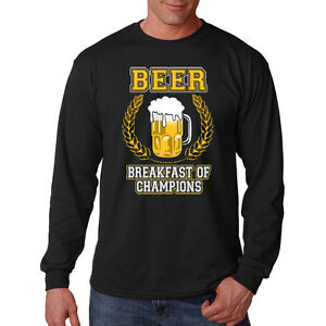 635b3a677 Image is loading Beer-Breakfast-Of-Champions-Funny-Alcohol-Drinking-Long-