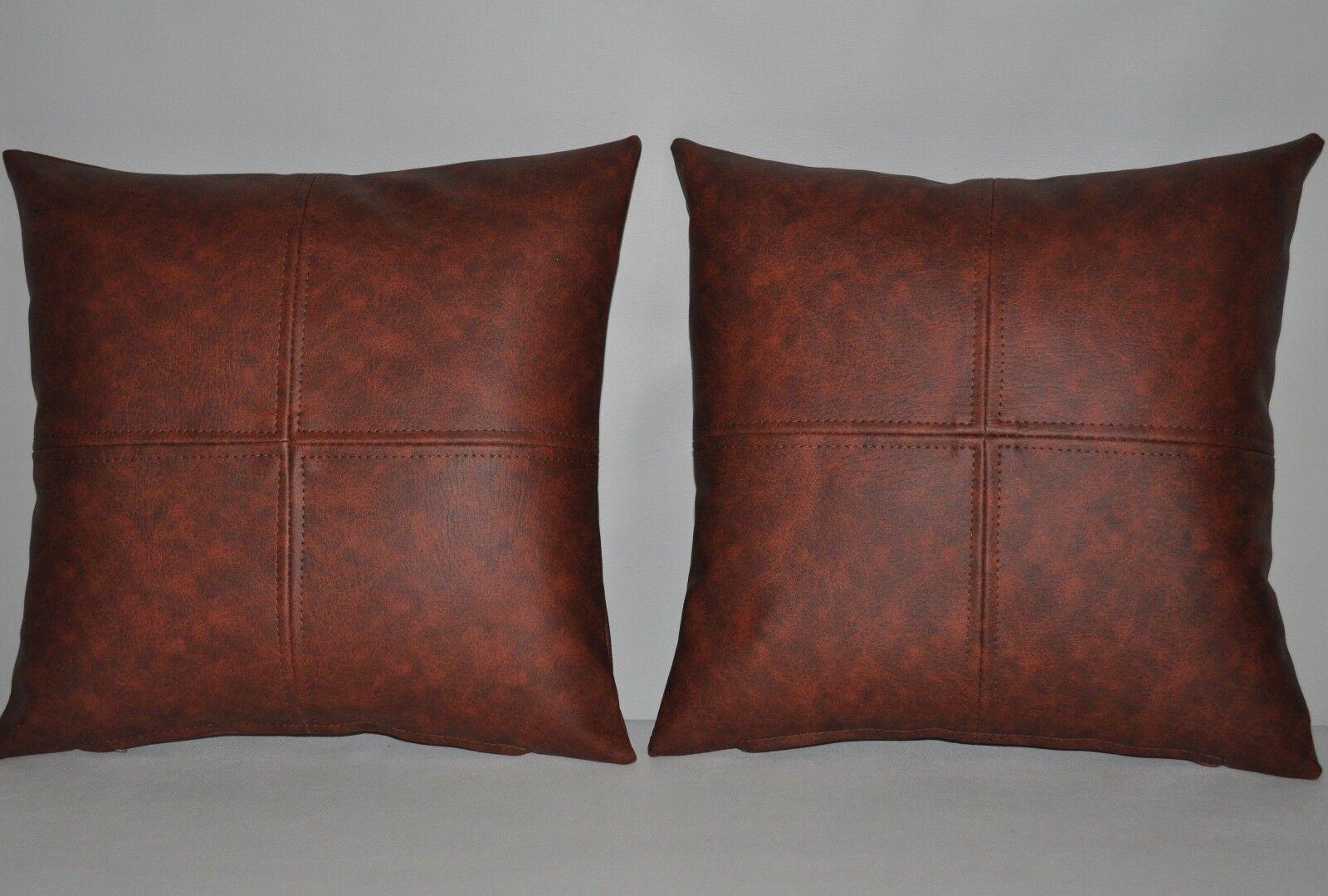 2 marbré marron & beige carreaux en cuir synthétique Coussins Coussins Coussins 16