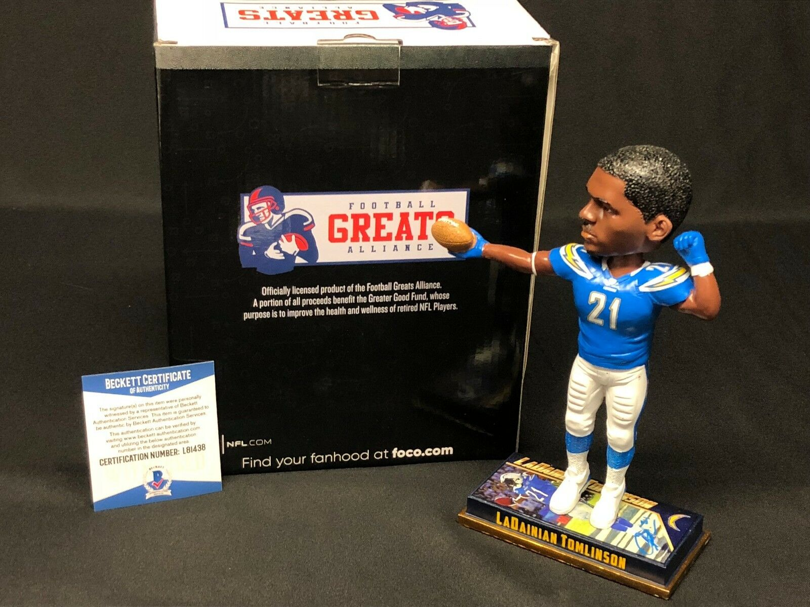 LaDainian Tomlinson Signed San Diego Chargers Forever Football Bobblehead BAS
