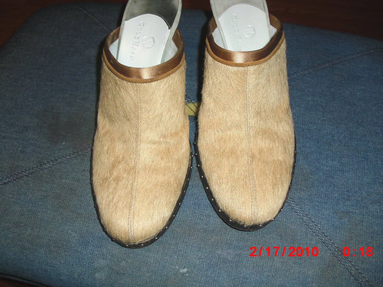 COLE HAAN TAN AND Gold OPEN BACK MAN MADE IN 3 BRAZIL SLIP ON 3 IN  HEEL Größe 7.5 382f68